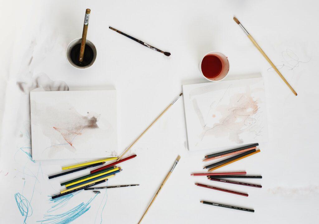 art supplies seen from above