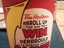 Tim Hortons roll up the rim to win