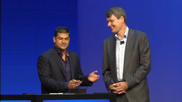 Thorsten Heins and Vivek Bhardwaj show off the BlackBerry 10