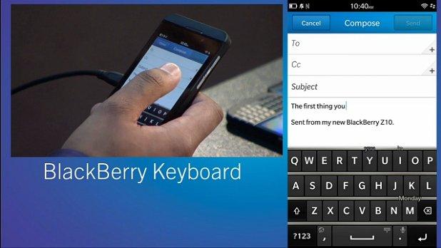 BlackBerry 10 virtual keyboard
