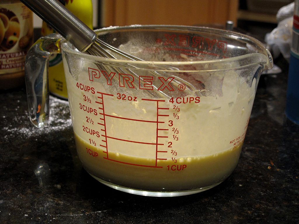 Add flour and a teaspoon of baking powder. Yield 1 and 1/3 cup of mixture.