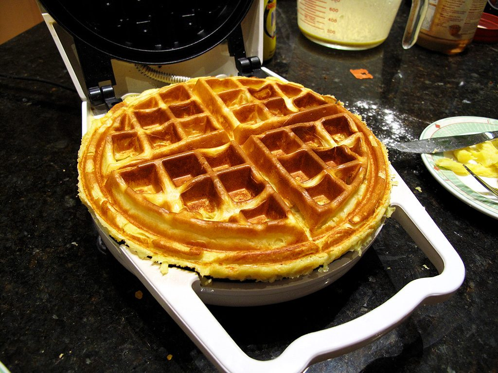 The waffle in its golden glory, hot off the iron.