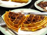 Smother that waffle with chocobutter and drizzle with maple syrop to form the mother of all desserts.