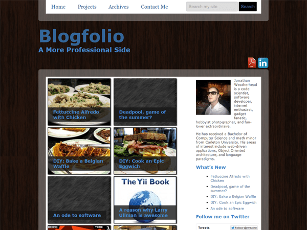 a screenshot of the Blogfolio theme for WordPress