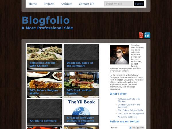 a screenshot of the Blogfolio theme for WordPress