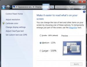windows 7 set DPI