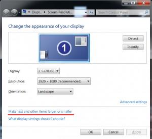Windows 7 set screen resolution