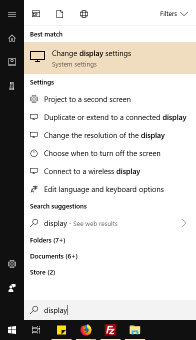 select Start > Settings > System > Display