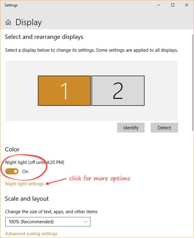 windows 10 display options, emphasis on Night Light