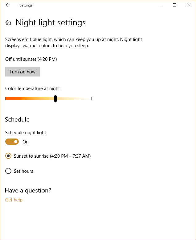 windows Night Light controls screen