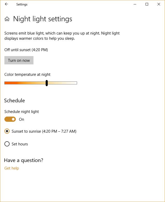 windows Night Light controls screen