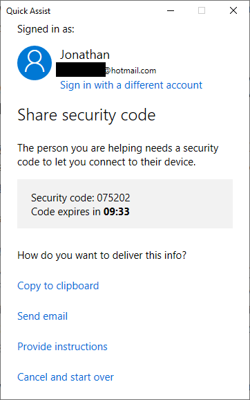 Quick Assist assistant screen showing the security code that the assistant must share with the recipient.