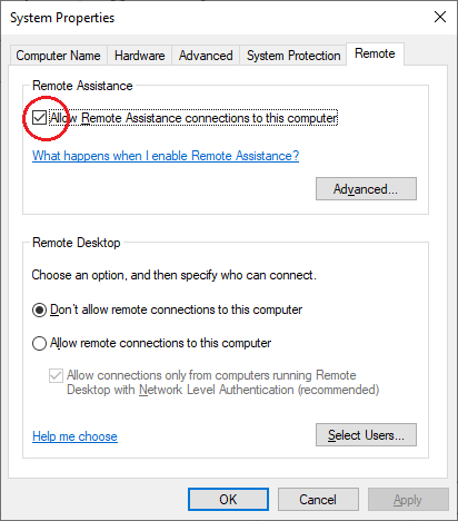 A system prompt with a checkbox for allowing remote assistance connections.