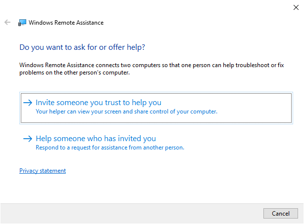 Remote Assistance start screen. Two options are shown, one for the inviting someone for assistance, and another to help someone who has invited you.