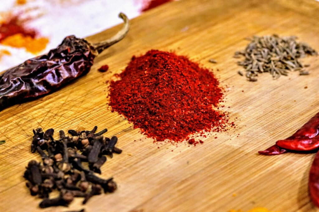 spices on a counter