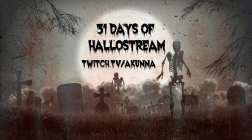 31 days of hallostream twitch.tv/akunna skeletons in a moonlit cemetery