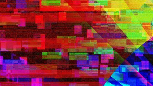 glitchy pixels glaring on display