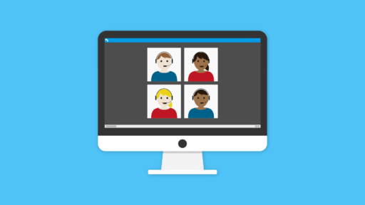 a remote conference with 4 participants depicted