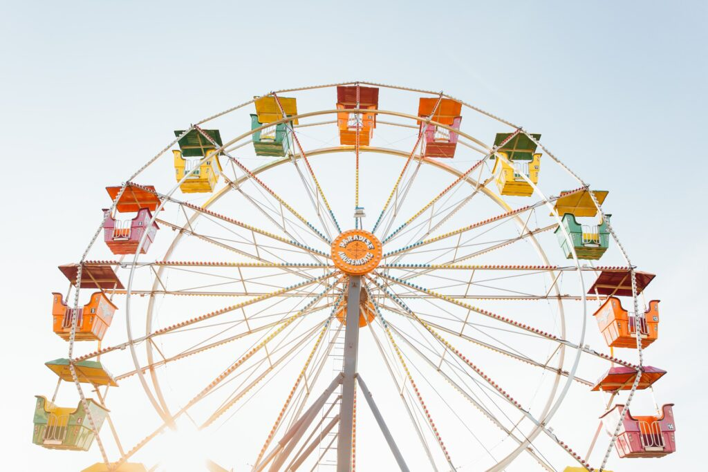 brightly painted ferris wheel